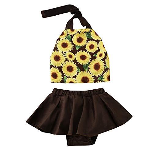 Mitlfuny Kleidung Set Kleid Damen Sommer Elegant Baby Mädchen Outfits & Set,2PCs neugeborenes Kind-Baby-Neckholder-Sonnenblume-Oberseiten + Rock-Ausstattungs-Sätze (Neugeborene Kostüm Lion)
