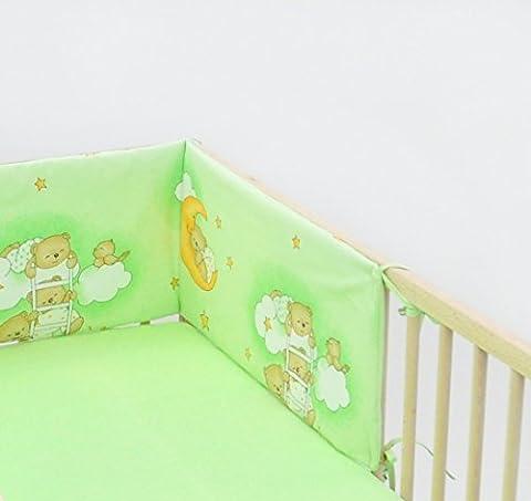 Protection pour le barreau env.30x210 parure de lit literie pour bébé enfant (dessin: nounours dans le ciel_vert)