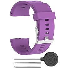 Correa de reloj de recambio–suave silicona hebilla de metal correa de hebilla de reloj muñeca reloj banda pulsera para polar V800GPS reloj deportivo con herramientas, color morado