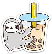 ملصق من الفينيل على شكل حيوان الكسلان يحب فقاعات الشاي