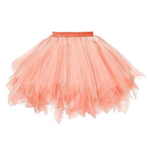 Damen 80's Tüllrock Tütü Röcke Tüll Petticoat Tutu Orange ()
