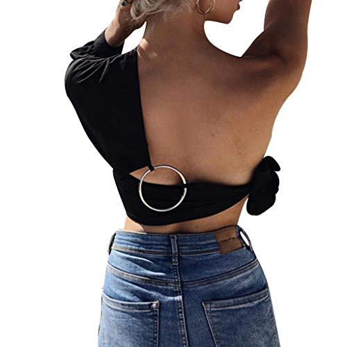 CRRE Damen Crop Top U-Ausschnitt Top Damen Schultergurt U-Ausschnitt Metall Ring Button Bodybuilding Bluse -