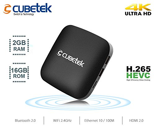Cubetek CB4KTX2 Portable 4K Media Player with 2GB RAM, 16GB ROM, Androd 6.0, HDMI 2.0, 10Bit, H.265V, 5.1 Dolby