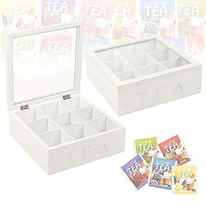 MDF blanc avec boîte à thé 9 compartiments
