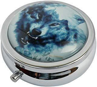 Halulu Wolf Custom Fashion Rund Glas Pillendose 5,3cm Tablet Holder Aufbewahrungstasche Wallet