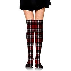 Gr--over-socks Calcetines de tubo hasta la rodilla para niñas, estampados a cuadros rojos y negros lindos de las mujeres sobre el muslo Medias largas y altas