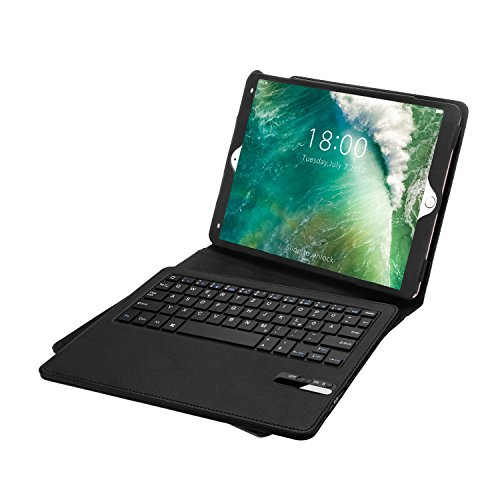 Jelly Comb iPad Pro 9,7 / iPad 9,7 2017 Tastatur Hülle, Bluetooth Keyboard Case Trennbare Wiederaufladebare QWERTZ Tastatur für iPad Pro 2016 iPad 2017 9.7 Zoll, Schwarz (Ipad Und Das Wireless Keyboard Case)