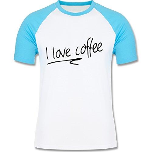 Küche - I Love Coffee - zweifarbiges Baseballshirt für Männer Weiß/Türkis