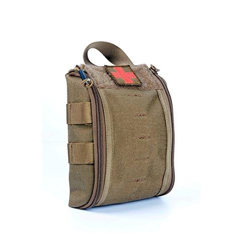 Yisibo Combat Medical Pouch Molle Rip-Away EMT medico pronto soccorso Utility Pouch Bag in Nylon Cintura Con Fibbia Cinghia e velcro fissaggio 3colori, Coyote Brown