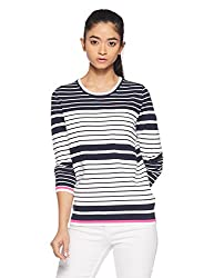 Tommy Hilfiger Womens Cotton Sports Knitwear (A7AWS115_Snow White / Peacoat / Magenta_M)