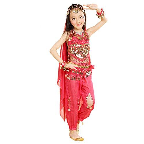 dchen indischen Bauchtanz Kostüme Set, Ägypten Tanzkleidung, Halloween Wear Karneval Sets (Rosa, EU M = Tag L) ()
