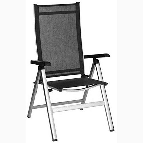 JUSTyou ELEMENTS Chaise Bistro en Acier Chaise de jardin pliante Platine Noir