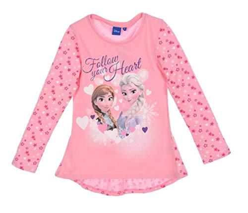 Frozen Langarmshirt Mädchen Ökotex Standard 100 ELSA (Rosa; gemusterte Ärmel, 110-116)