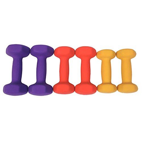 SONGMICS 3-Sets Hantel Set 1 kg, 1,5 kg, 2 kg Gymnastikhantel gratis Hantelständer in verschiedenen Gewichts- und Farbvarianten gegen Schweiß und Feuchtigkeit matt SYL69BK - 4