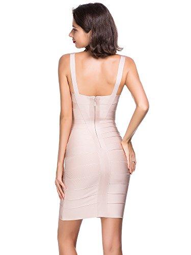 Alice & Elmer Damen Rayon Bodycon Strap Sleeveless Bandage Evening Cocktailkleid Party Dress Abend Club Kleid Apricot