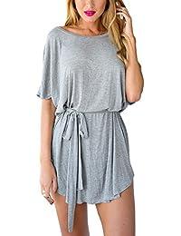 LookbookStore Damen Graues kurzärmliges T-Shirt Kleid mit Taillengürtel
