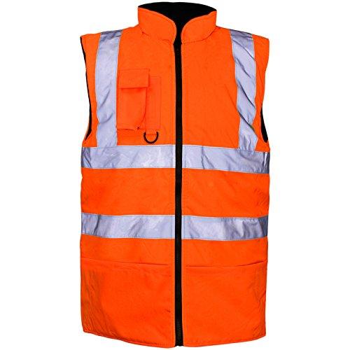 Ad alta visibilità Vis visibilità in pile reversibile impermeabile corpo più caldo Gilet Gilet Orange XXXX-Large