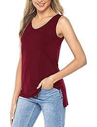 45f60997d6 AMORETU Women Sleeveless V Neck Vest Tops T Shirt Blouse