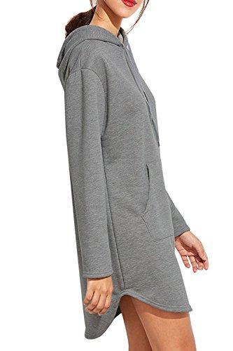 Des Sweat - Shirts Mini - Robe Pull Occasionnels Avec Poche Cordon. Grey