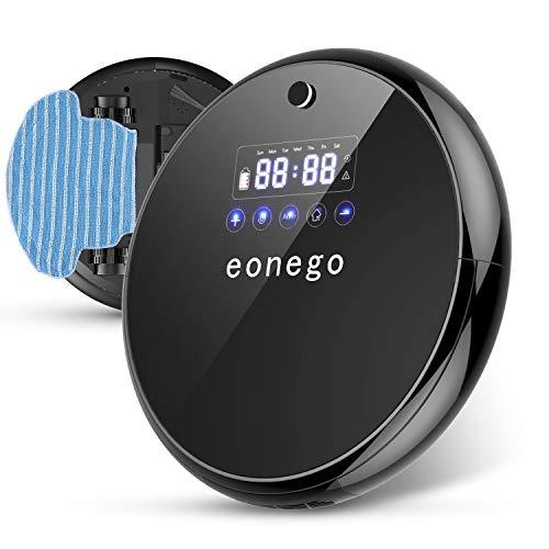 eonego Saugroboter mit Wischfunktion, automatischer Roboter Staubsauger(2 in 1 nass Wischen /Staubsaugen, hohe Saugkraft 24W ideal bei Tierhaaren und Allergene, Rückkehr zur Ladestation)