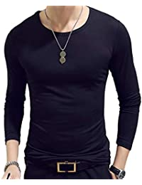 1c698edecb4b Youthny T-Shirt Homme Manches Longues en Coton Slim Fit col Rond Casual  Fashion Mode