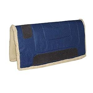 Reitsport Amesbichler AMKA Westernpad, dunkelblau Western Pad Inka mit Teddy Fleece Unterseite aus 100% Polyester, 75 cm lang x 80 cm breit, Lederverstärkt