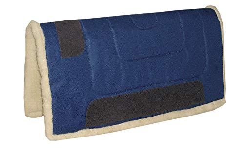 Amesbichler Westernpad, dunkelblau | Western Pad Inka mit Teddy Fleece Unterseite aus 100{2a39d59ff260af9230654a7ec6506e9df35c6be5fd9a2b4627e1473bf211af07} Polyester, 75 cm lang x 80 cm breit, Lederverstärkt