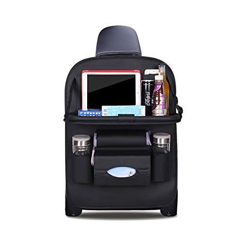 Ergocar Auto Organizer Rückenlehnenschutz Luxus Autositzschutz aus PU-Leder mit faltbarem Tablethalter wasserdicht Rückenlehnenschutz Rückenlehnen-Tasche für Kinder (Schwarz - 1 Pack)