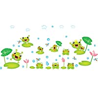 Cartoon Frog Pattern Theme Wall Art Decal Sticker Mural Decoration for Living Room Nursery Baby Girl Boy Kid Children