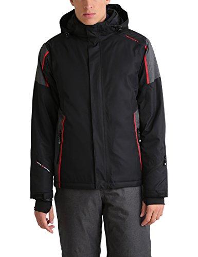 Ultrasport davos - giacca invernale da uomo - giacca da sci o snowboard con tecnologia ultraflow 10.000 - giubbotto da alpinismo/trekking funzionale, nero/rosso, l