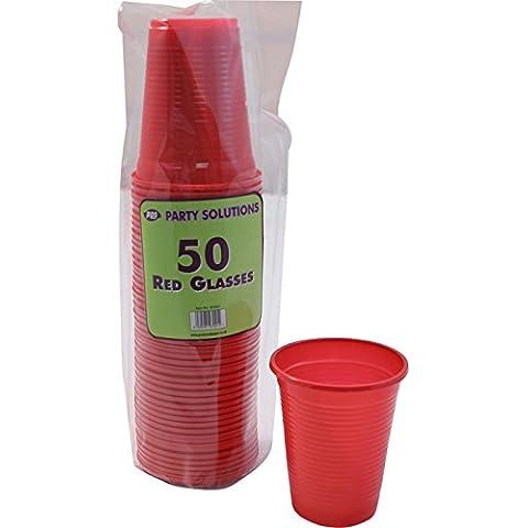 50x rojo vasos de plástico–200ml gafas desechables entrega gratuita