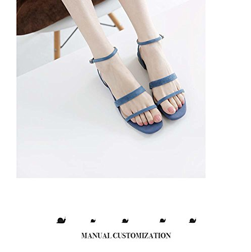 Sandali romani Simple Flat Three Sandals Sandali in pelle per le donne Cinturino alla caviglia haze blue