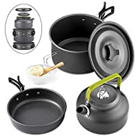 GreensKon Camping Cookware, Aluminum Nonstick & Lightweight Cookware Set with Kettle Outdoor Camping Pans for 2-3People, Portable Cook Set or Camping Hiking BBQ Picnic (2-3People)