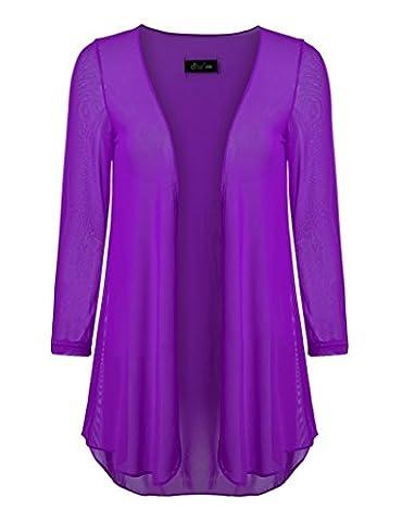 Ferand Open Front Soft Drape Lightweight Cardigan 3/4 Sleeve for Women, Purple, XL