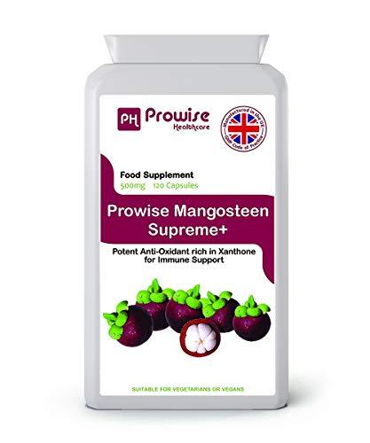 Prowise Pure Mangosteen 500mg 120 capsulas - Superfood Suplemento antioxidante para la salud para apoyar el sistema inmunológico y promover el cabello saludable, uñas y piel - Reino Unido Fabricado de alta calidad a GMP para alta calidad - - Conveniente para vegetarianos y veganos
