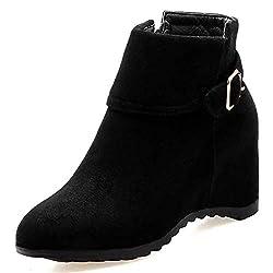 women keep warm height increasing ankle boots winter buckle metal decoration inside zipper hidden heels fur shoes - 411G2lcg 2BeL - Women Keep Warm Height Increasing Ankle Boots Winter Buckle Metal Decoration Inside Zipper Hidden Heels Fur Shoes