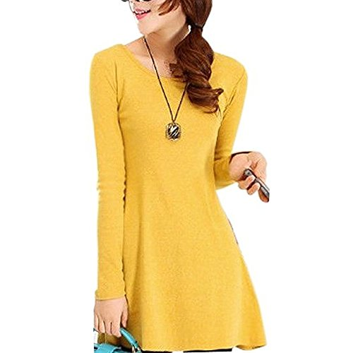 Minetom Mujer Otoño Primavera Manga Larga Vestidos Casual Maxi Vestir Color Sólido Amarillo One