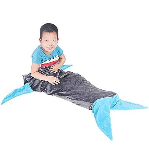 Kinder Hai Decke mit Meerjungfrau Schwanz Flosse Gestalten, Snuggle-in Schlafsack, Super Weiche Bequeme Steppdecke Kostüm mit Hai Zähne Fisch Schwanz, für Jungen Mädchen Erwachsene