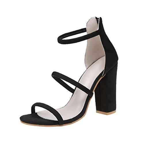 Mode Zip Sandalen Damen, DoraMe Frauen Knöchel High Heels Block Party Offene Spitze Schuhe Fischmund Pumps Wildleder Solide Schuhe (EU:39/CN:40, Schwarz) (Block-heel-schuhe)