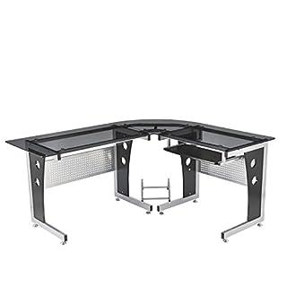 Homcom Computertisch Eckschreibtisch Schreibtisch Bürotisch PC Tisch mit schwarzem Sicherheitsglas