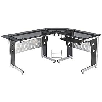 homcom computertisch eckschreibtisch schreibtisch brotisch pc tisch mit schwarzem sicherheitsglas - Computertische Fr Spieler