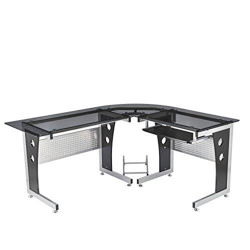 ecktisch holz Homcom Computertisch Eckschreibtisch Schreibtisch Bürotisch PC Tisch mit schwarzem Sicherheitsglas