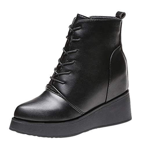 Damen Stiefel FGHYH Womens Thick Bottomed Zunehmende Booties Single Boots Stöckelschuhe(35, Schwarz)