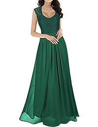 7dd72f7745c8 Hangup Abito Lungo Senza Maniche in Chiffon Femminile Donna Elegante Vestiti  da Matrimonio Pizzo Abito in
