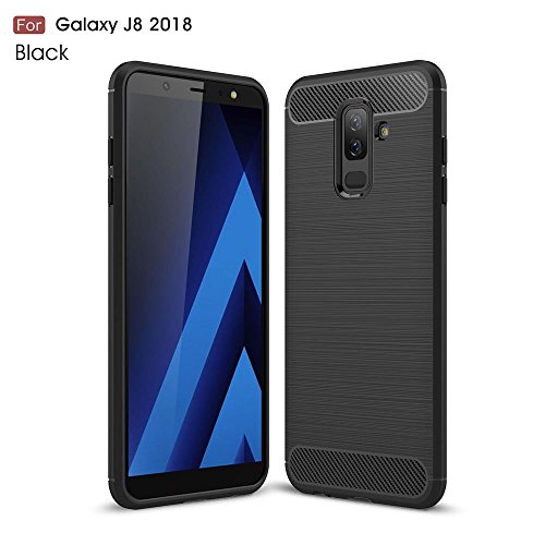 "WOW Imagine Rugged Armour Shock Proof""Brushed Carbon Fibre Texture"" Series Impact Resistant Slim Profile TPU Phone Back Case Cover for Samsung Galaxy J8"