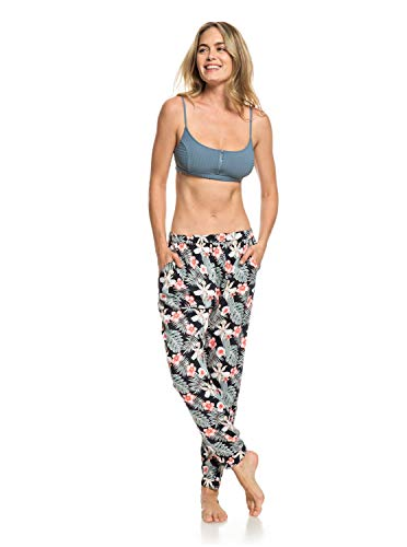 Roxy Easy Peasy Pantalon léger Femme, Anthracite Tropicalababa Swim, FR : M (Taille Fabricant : Medium)