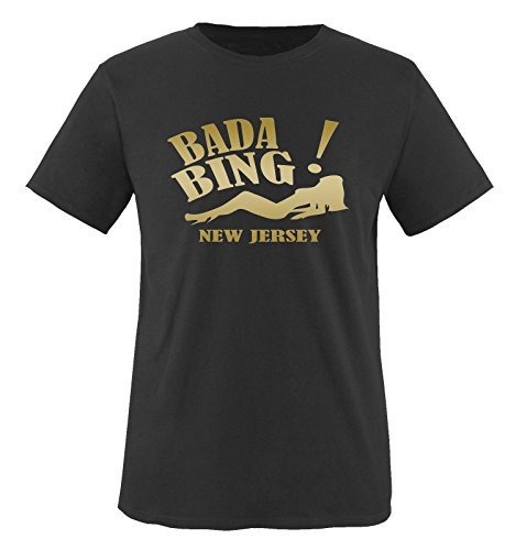 BADA BING - New Jersey - Herren Unisex T-Shirt Gr. S bis XXL Diverse Farben Schwarz / Gold