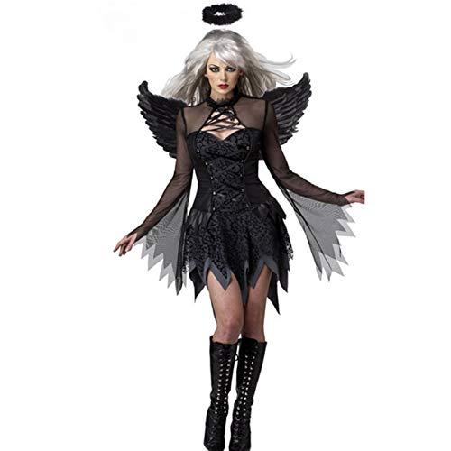 ERFD&GRF Großhandelskostüme der Teufel-gefallenen Engel, große Zick-Klassische Halloween-Partei-Abendkleid-Schwarz-Flügel und schwarzer Halo, M