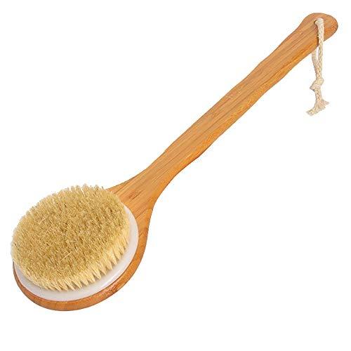 Tasquite Badebürste Körperbürste Rückenwäscher Langer Griff Bad Duschbürste Naturborsten Trockene Haut Bambus Holz Duschzubehör -