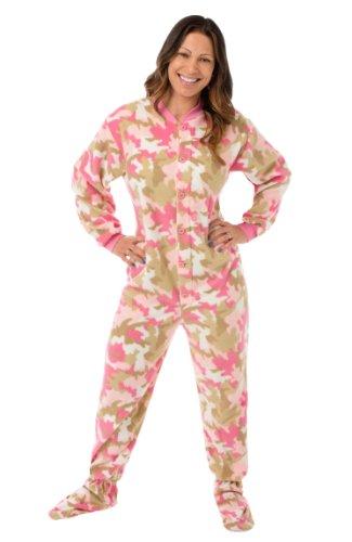 Rosa Camouflage Fleece erwachsen Onesie Fuß pyjamas mit Butt Flap hinteren Klappe für Frauen